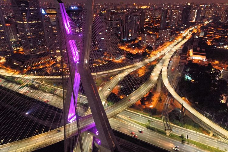 High angle view of light trails on elevated road at night