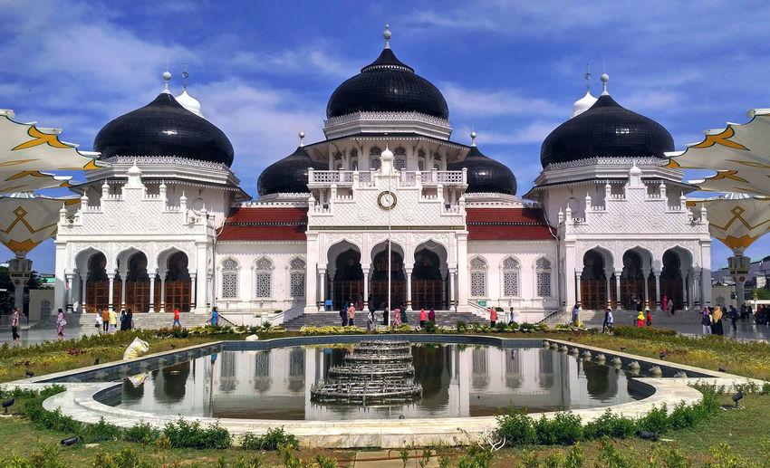 Baiturrahman Mosque Architectural Column Architecture Building Exterior Built Structure Cloud - Sky Day Dome History Outdoors Religion Sky Travel Destinations Water