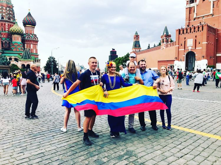 Columbia national group and fans in Moscow Architecture Real People Building Exterior Built Structure Group Of People Multi Colored World Cup 2018 City Women Lifestyles People Street World Cup 2018