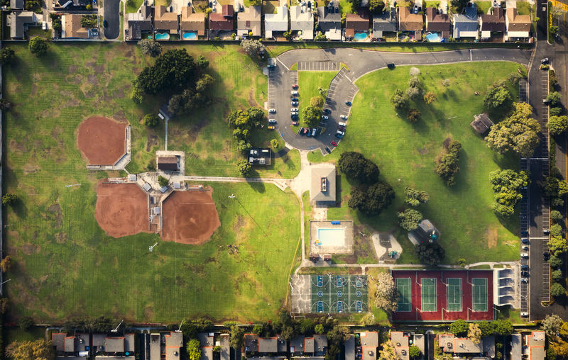 Residential District Day Nature Tree Green Color Outdoors Aerial View Park - Man Made Space Park Tennis Court Baseball Field Neighborhood Dronephotography Birds Eye View A New Perspective On Life