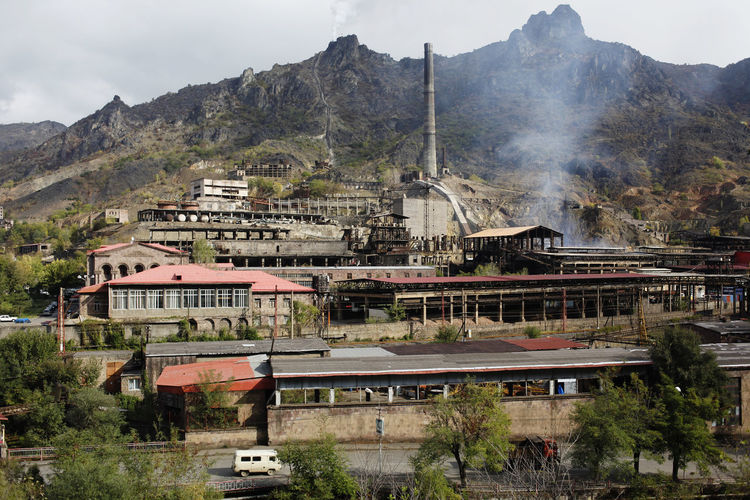 alawerdi, armenia Ex Soviet Countries Alaverdi Industry Alaverdi Armenia Environment Smoke - Physical Structure Plant City Outdoors Tree Mode Of Transportation Residential District Religion Place Of Worship No People Transportation Sky Day Nature Building Architecture Building Exterior Built Structure Mountain