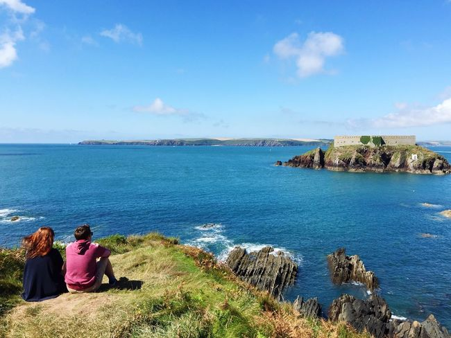 The Essence Of Summer Hello World Pembrokeshire Coast Path Pembrokeshire Coast Angle Pembrokeshire Check This Out Summertime Sea And Sky Ocean View Looking Out To Sea. People Together The Great Outdoors - 2017 EyeEm Awards