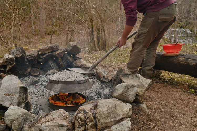 Autumn Camp Fire Camping Day Forest Leisure Activity Lifestyles Log Men Nature Outdoors Rock Rock - Object Show Us Your Takeaway! Showcase April Spring Stack Standing Stone Stone - Object Tranquil Scene Tranquility Tree Camp