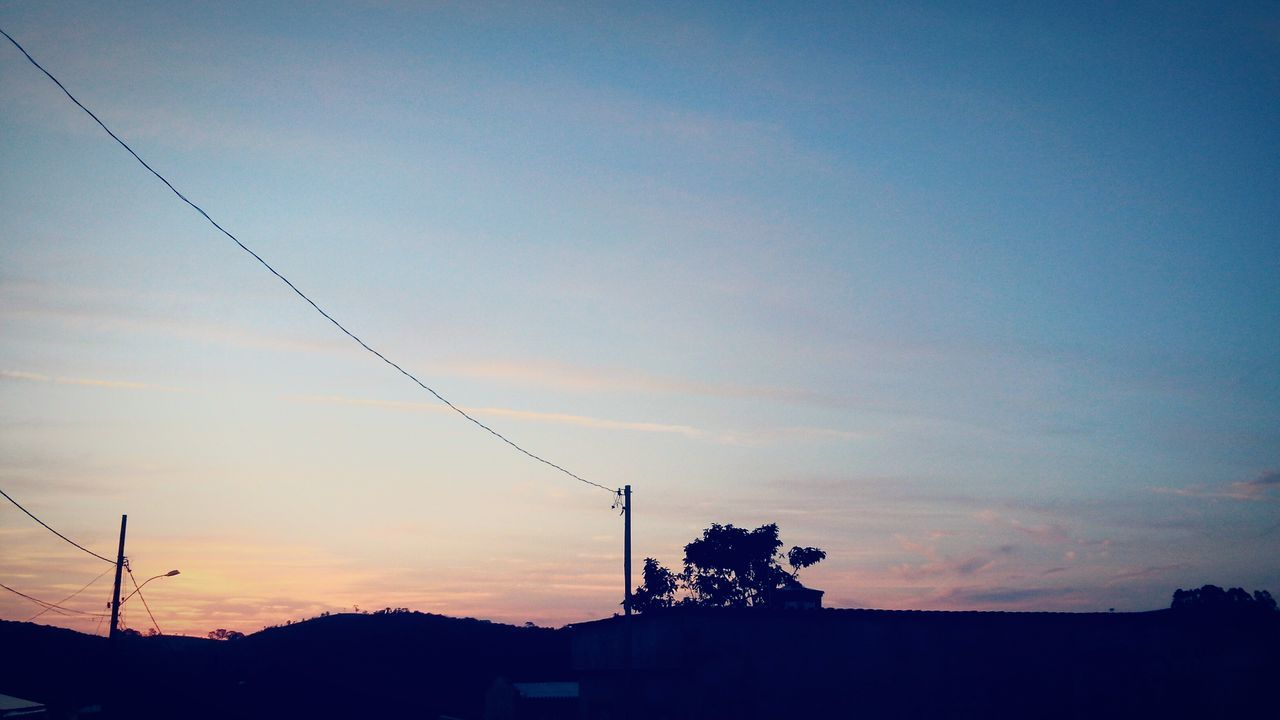 sunset, silhouette, sky, no people, outdoors, cable, nature, scenics, beauty in nature, tree, day