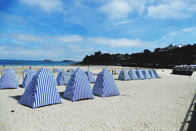 France Brittany Dinard Beach Tent Beach Time Beach View Beach Photography Blue Vacations Canopy Sand Striped Beach