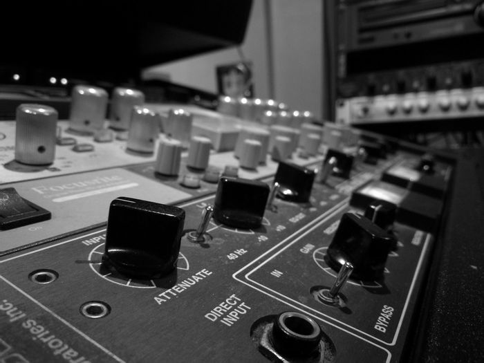 Adjust Sound Mixer Control Music Technology Control Panel Sound Recording Equipment Electronics Industry Close-up Black And White Broadcasting Recording Studio Indoors  Business Finance And Industry No People Mixing Audio Electronics