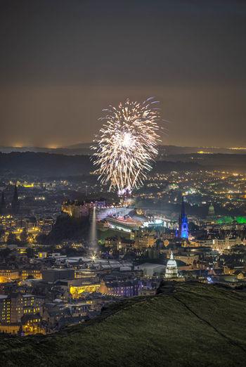 Fireworks above