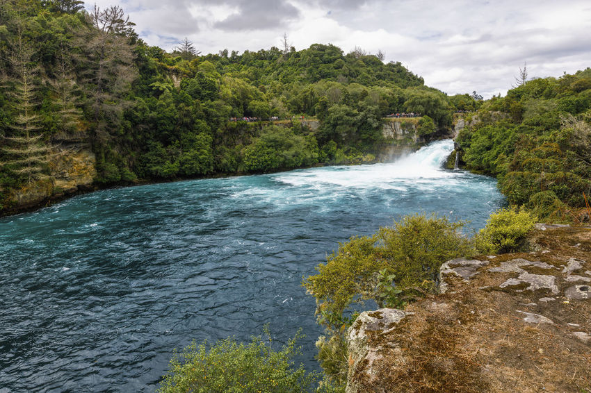 Panoramic view of Huka Falls, New Zealand NZ Beauty In Nature Cloud - Sky Environment Flowing Flowing Water Forest Growth Huka Falls Land Motion Nature New Zealand No People Outdoors Plant Power In Nature Rock Rock - Object Scenics - Nature Sky Tranquil Scene Tree Water Waterfall