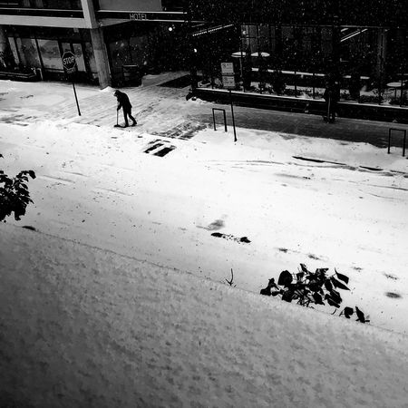 First Snow Chicago Blackandwhite