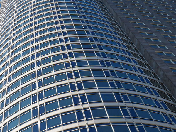 Architecture Backgrounds Blue Building Building Exterior Built Structure City Day Frankfurt Full Frame Futuristic Low Angle View Modern Modern Architecture No People Outdoors Pattern Repetition Sky Skyscraper Tubular The Graphic City