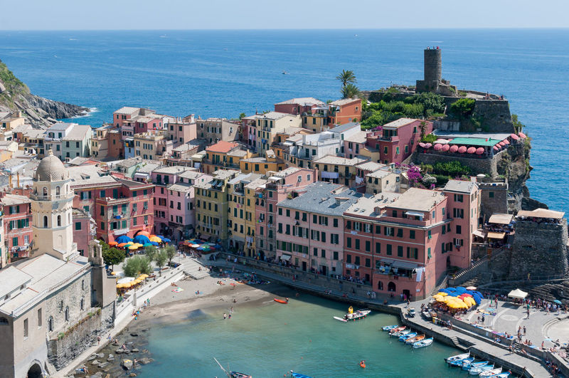 Cinque Terre Architecture Beach Boat Building Exterior Built Structure Cinque Terre Cinqueterre City Cityscape Coastline Elevated View Historical Horizon Over Water Liguria Residential Building Residential District Residential Structure Sea Town TOWNSCAPE Travel Destinations Vernazza Water