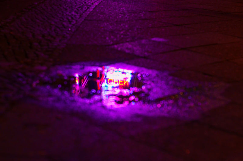 Berlin Reflection Sidewalk Arts Culture And Entertainment Clubbing Come In We Are Open Illuminated Neon Neon Lights Night Nightclub Nightlife No People Open Open Sign Puddle Purple Color
