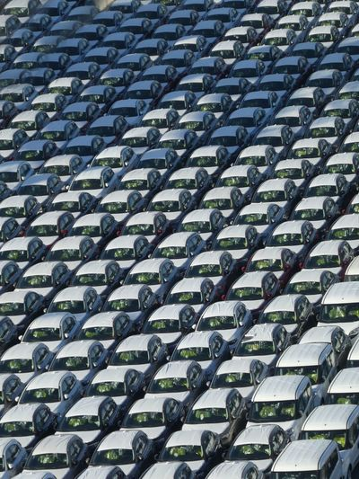 Transportation Pattern Full Frame No People Backgrounds Outdoors Fullframe EyeEm Gallery Cars Everything In Its Place Covered Cars Ready For Transsport High Angle View White Background WhiteCollection Abstract Lines, Colors & Textures Abstract Backgrounds Colour Your Horizn 17.62°