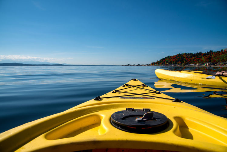 Adventure Kayaking Adventure Beach Beauty In Nature Close-up Day Gopro Horizon Over Water Kayak Nature Nautical Vessel No People Outdoor Recreation Outdoors Scenics Sea Sea And Sky Ship's Bow Travel Water Yellow