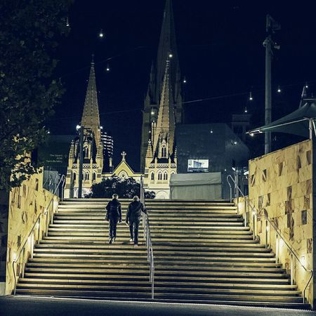 Melbourne EyeEm Melbourne Nightshot FUJIFILM X-T1 Streetphotography Street Walking The Stairs Federation Square