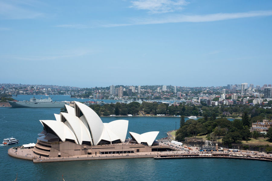 Sydney,NSW,Australia-November 20,2016: Elevated view over the Sydney Opera House and harbour with boats and cityscape in Sydney, Australia. Australia Harbour Roof Royal Botanic Gardens Sydney Opera House Tourists Transportation Architecture Bennelong Point Boat City Cityscape Famous Place Harbor High Angle View Landmark Nautical Vessel Outdoors Parramatta Park Sea Sky Sydney Tourism Travel Destinations Water