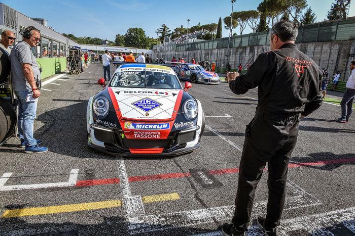 Porsche Carrera racing car in action Car Championship Driver Formation Lap Motor Sport Porsche Carrera Starting Grid Starting Line