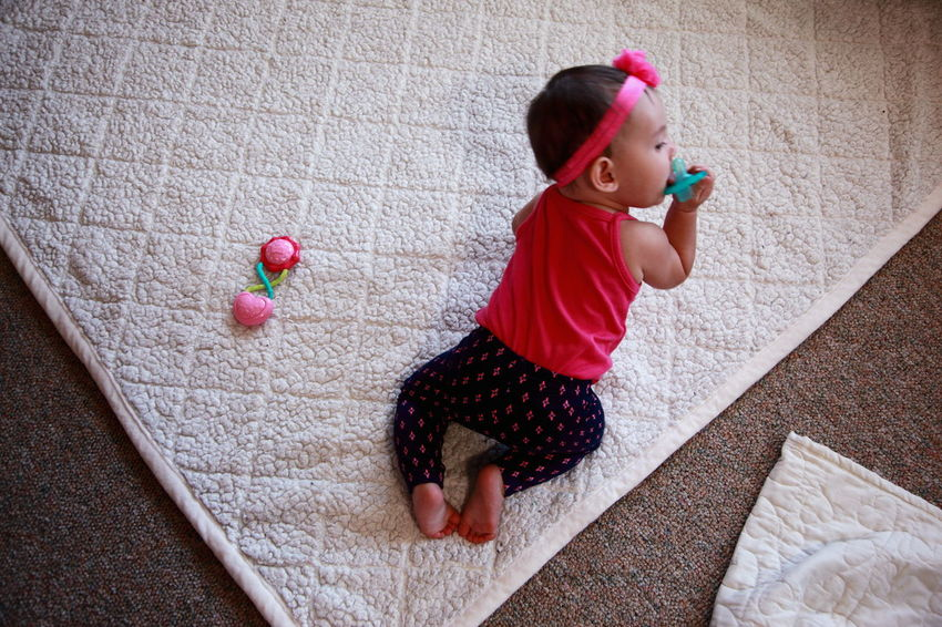 America Babies Baby Babygirl Babyhood Blanket Childhood Crawling Cute Exploring Family Full Length Girl High Angle View Innocence Learning Love People Person Soft