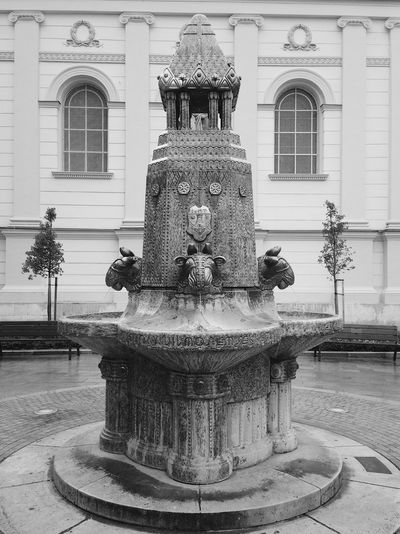 Statue Sculpture Architecture Building Exterior Religion Built Structure Water Day No People Outdoors Pécs City Zsolnay Fountain Blackandwhite Monochrome