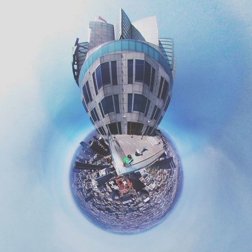 US Bank Tower 360 Degree Smallplanet 360panorama  360° Tiny Planet Built Structure Architecture Building Exterior Sky City Day Sphere Cloud - Sky Circle Shape Building Geometric Shape Low Angle View Reflection Modern Blue Travel Destinations EyeEmNewHere