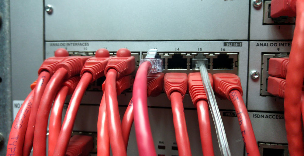 Close-up of red computer cables