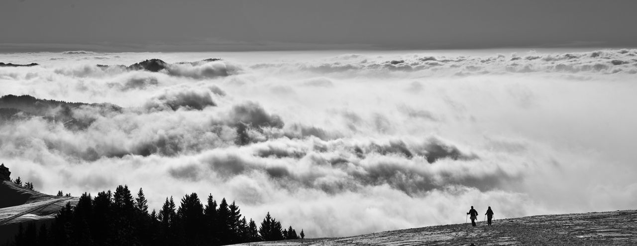 Silhouette Outdoors Fog Day Nature People Beauty In Nature Adventure Adult Power In Nature Adults Only France Haute-Savoie  Snow Hikking Blackandwhite Be. Ready. Shades Of Winter