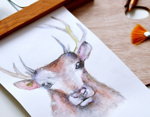 ArtWork Artistic Paint The Town Yellow Paintings Poster Animal Themes Art Art And Craft Close-up Day Deer Animal Indoors  No People Painting Table Watercolor