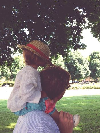 Father & Daughter Summervibes Little Lady  Straw Hat Park Sunny Day Dad's the best