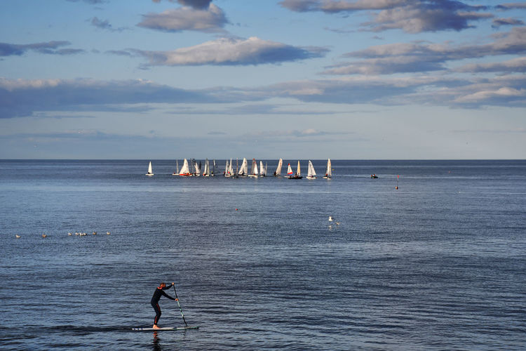 Aberdeenshire Scotland Beauty In Nature Cloud - Sky Day Horizon Horizon Over Water Lifestyles Men Nature One Person Outdoors Paddleboarding Real People Sailing Sailing Competition Scenics - Nature Sea Sky Tranquil Scene Tranquility Water Waterfront