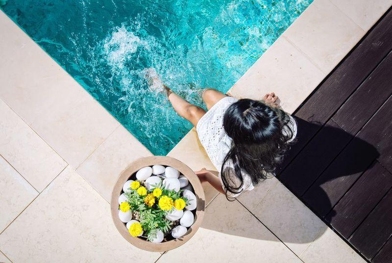 High Angle View Swimming Pool Water Outdoors Lifestyle Luxurylifestyle  Luxury Living Sunshine Playing Splashing Blue Water Flowers The Traveler - 2018 EyeEm Awards
