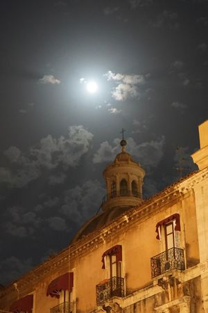 moonlit night in Catania Architecture Bell Tower Building Exterior Built Structure Cathedral Church Cloud Cloud - Sky Day Façade Full Moon High Section History Lens Flare Low Angle View Moonlit Old Town Outdoors Place Of Worship Religion Sky Spire  Spirituality Town Window