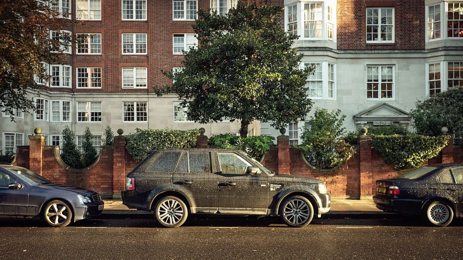 Mercedes - Rover - Bimmer Car Tree Transportation Building Exterior Architecture Mode Of Transport Land Vehicle Built Structure Window Day Outdoors Stationary No People City Cars Sidewalk Neighborhood Neighbourhood Brick Brick Wall Texture Sunrise Mercedes-Benz Land Rover London