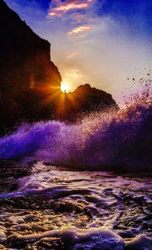 Power In Nature Sunlight Water Scenics Wave Sea Mountain Beauty In Nature Sun Nature Sky TakeoverContrast