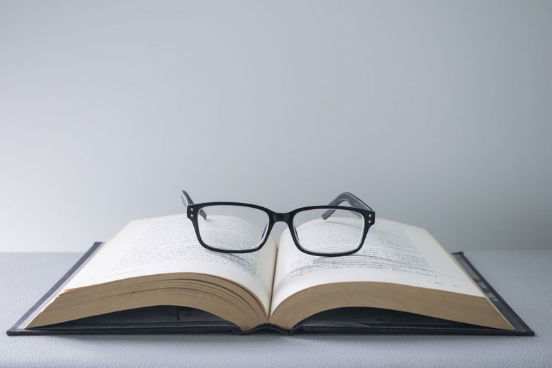 Eye glasses on book Book Close-up Education Eyeglasses  Glasses Learn Library Page