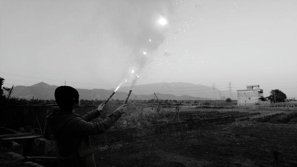 Fireworks. Fireworks Sky One Person Fire Black & White Black And White Monochrome Monochrome Photography