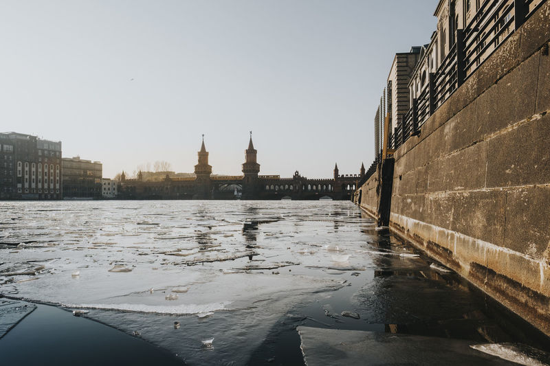 Oberbaumbrücke Frozen Ice Spree Stralauer Allee View Winter City Cityscape Clear Sky Outdoors River Tower Travel Destination Travel Destinations Water Waterfront