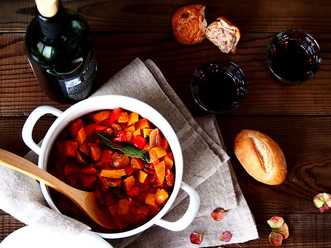Dinner Directly Above Focus On Foreground Food And Drink Healthy Eating High Angle View Kitchen Utensil Meal On The Table Red Wine Still Life Table Vegetable Wellbeing
