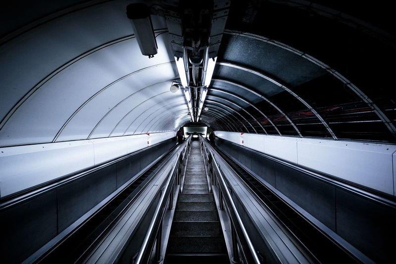 Architecture Geometric Architecture London Underground Built Structure Direction Futuristic Indoors  Modern Moving Walkway  Tunnel First Eyeem Photo