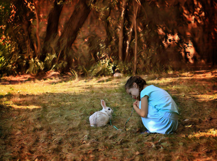 Cute Girl With Rabbit Crouching On Field
