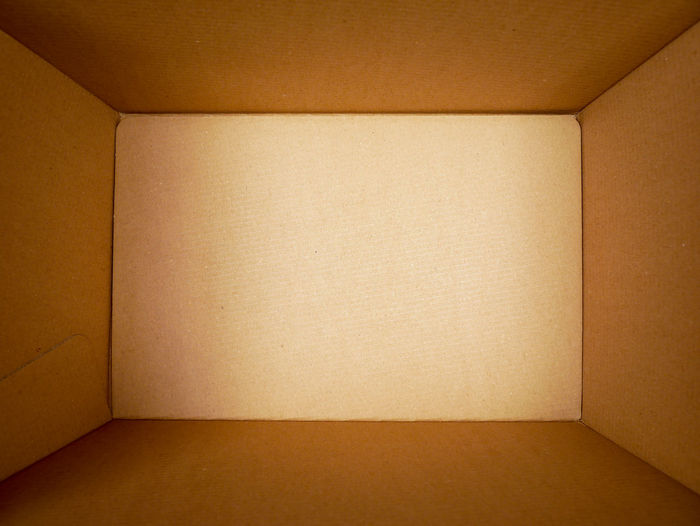 Full frame shot of empty cardboard box