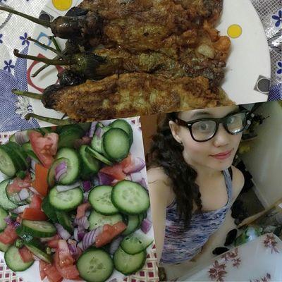 Dinner! inato style●lutong ato2x sa pinas●tortang talong●pipino salad Myrecipe Mystyle Mugna2style