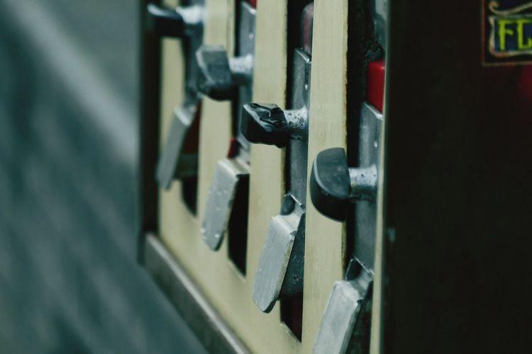 Close-up of gumball machine