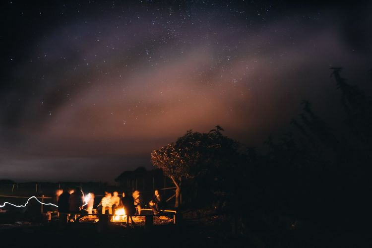 Amazing camp fire with amazing people.Night Burning Sky Glowing Cloud - Sky SONY A7ii EyeEmBestPics Sony Photography Firewatch Stars Starscape Starry Sky