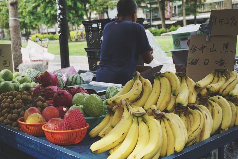 Sunny Day Season  Fruits Food Food And Drink Healthy Eating Fruit Banana Freshness Market Market Stall Real People For Sale