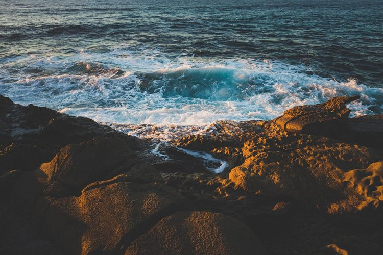San Diego California La Jolla EyeEm Selects Sea Wave Water Nature No People Shades Of Winter Beauty In Nature Rock - Object High Angle View Outdoors Beach Scenics Day