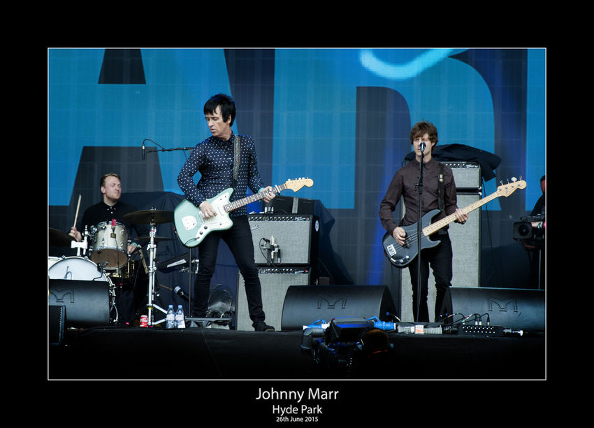 Archival Bass Guitar Drum - Percussion Instrument Electric Guitar Full Length Group Of People Guitar Guitarist Johnny Marr Microphone Music Musical Instrument Musician People Performance Performance Group Playing Practicing Rock Group Singer  Singing Skill  Small Group Of People Sound Recording Equipment Technology