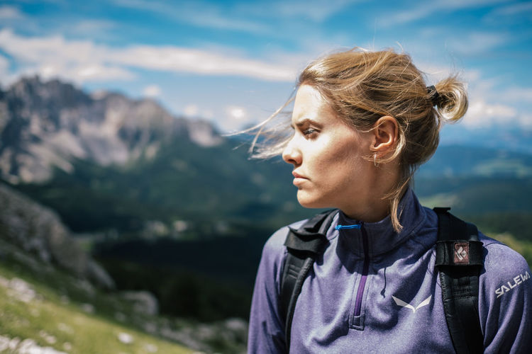 Rosengarten Nature One Person Young Adult Headshot Mountain Portrait Lifestyles Leisure Activity Looking Blond Hair Sky Hair Focus On Foreground Beauty In Nature Looking Away Day Beauty Young Women Mountain Range Beautiful Woman Contemplation Outdoors Hairstyle Looking At View Wind