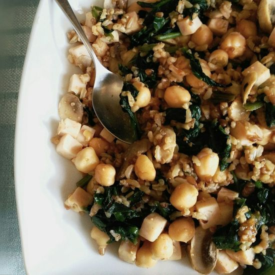 Chickpeas with wholegrain Quinoa rice, Tofu, spinach and mushrooms tossed in hot paprika, chilly powder, garlic & parsley, sloowly cooked in homemade vegetable broth Healthychoices Fitmeal NutritionalSuperFood Vegetarian Vegan Friendly Food Foodphotography Nutrition