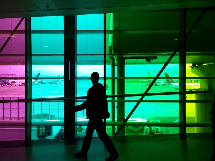 The Happy Hall at Dublinairport Silhouette Window One Man Only One Person Indoors  Architecture Airplane Built Structure Colour Splash Colours