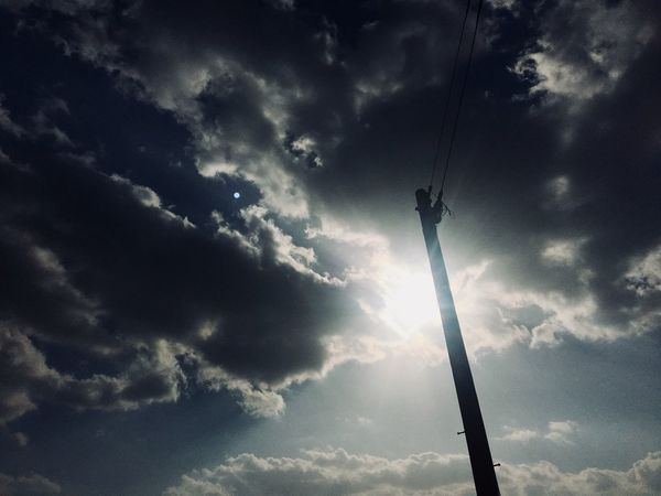 Sky Cloud - Sky Sky Low Angle View Cable Nature Silhouette Day Outdoors Technology No People Beauty In Nature
